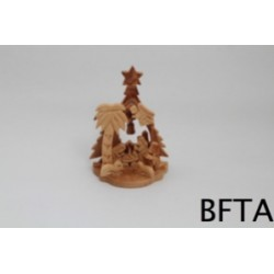 Olive Wood Small Tree Nativity with two candles in the back